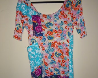 Small Knit Tunic Upcycled Urban Chic Colorful Floral Repurposed Eco-Friendly Top