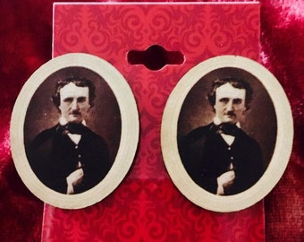 Wooden Oval Edgar Allen Poe Earrings