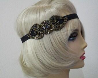 Flapper Headpiece Art Deco Headband 1920s Headpiece Downton Abby Headband Beaded Art Deco Beaded Headband Roaring 20s