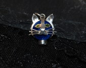 Vintage Cute Whiskery Green Eyed Kitty Cat Face Pendant Sterling Silver Faced Lapis Bezel Set Cut Out Kitten #BKC-KCHRM180