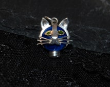 Vintage Cute Whiskery Green Eyed Kitty Cat Face Pendant Sterling Silver Faced Lapis Bezel Set Cut Out Kitten #BKC-KCHRM180