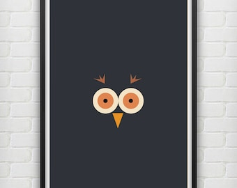 Illustrated Owl Poster size A3 (unframed)