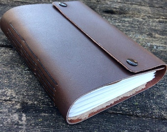 brown leather wrap journal - notebook - w double snap