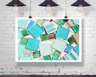 Photograph - Ocean Tide Sea Glass Blue Turquoise Seafoam Art Design Fine Art Photography Print Wall Art Home Decor