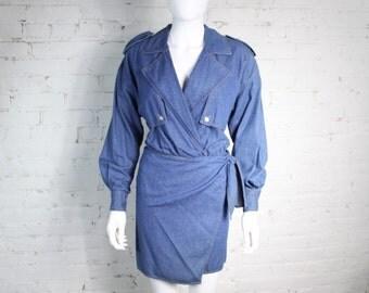 1990s DKNY Wrap Dress denim trench coat jeans bodysuit 2