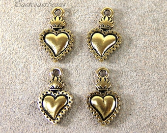 Heart Milagro By TIERRACAST~ Antiqued Gold Plated Lead Free Pewter~4 Pieces