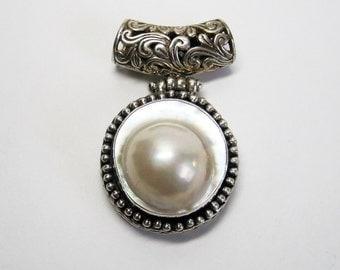 Large Vintage Sterling Blister Pearl Pendant