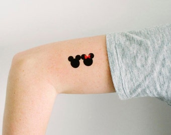 Minnie mouse tattoo etsy for Disney temporary tattoos mickey mouse