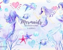 Watercolor mermaid clipart, mermaids, fish, star fish, bubbles, hearts  for instant download