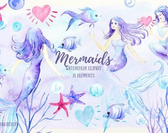 Mermaid clip art, watercolor mermaid, mermaids, fish, star fish, bubbles, hearts  for instant download, mermaid clipart
