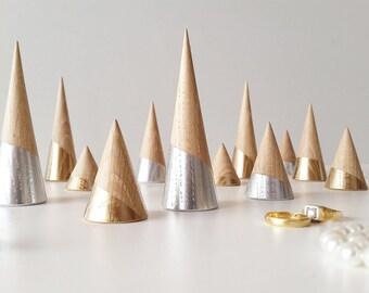 16 x bague cône « Pack confort » Silver-chêne et chêne-Gold Version rangement en bois bijoux affichage anneau anneau Display Stand bijoux