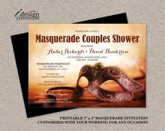 Masquerade Invitation | Printable Mardi Gras Couples Shower Invitations With Mask | Elegant Masquerade Party Invites