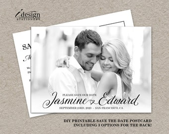 Printable Photo Save The Date Postcard   Calligraphy Wedding Save The Date Cards With Picture   Double Sided Save The Dates