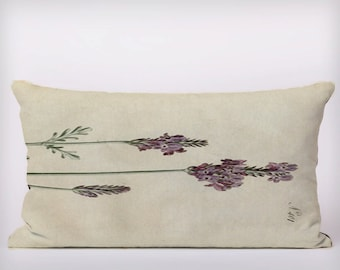 lavendar Vintage Flowers - Customizeable Personlized   -Cushion Fabric Panel Or Case or with Filling