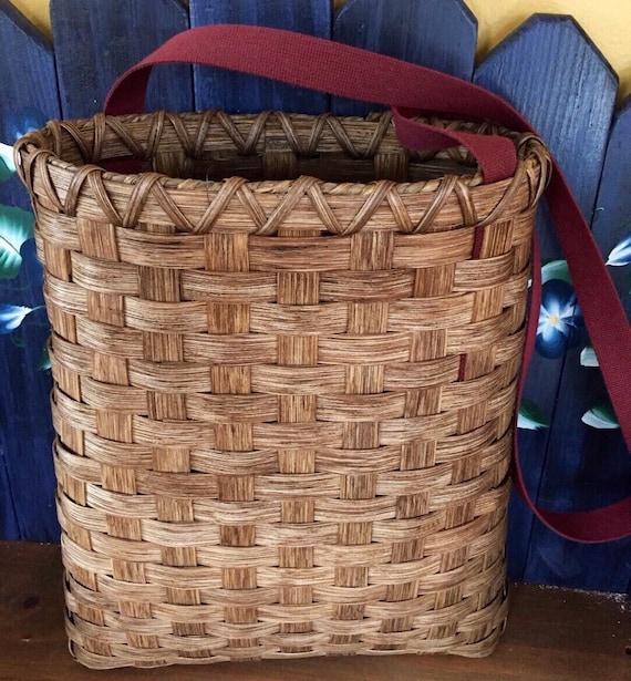 Handmade Pack Basket : Handmade basket shoulder pack hiking strap
