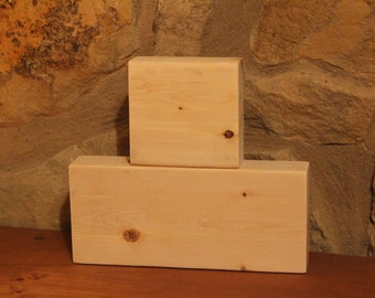 Unfinished Stacking Blocks, Unfinished Wood Block Duo, DIY Craft Blocks, Plain, Unpainted, 2 Wood Blocks