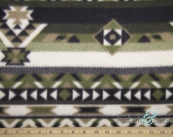 Indian Ikat Green Anti-Pill Polar Fleece Fabric Polyester 13 Oz 58-60""