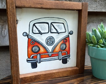 Orange Volkswagon Van, VW bus painting, wall hanging wooden sign with frame