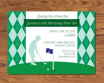 Preppy Golf Invitation- Boy's Golf Invite- Boy's Golf Party- Boy's Golf Birthday Party Invitation- Golf Birthday Party