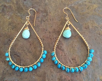 Turquoise gemstone gold hoop earrings