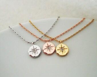 463.Cubic Zirconia setting Star Pendant Bracelet,Polaris,North Star Pendant Bracelet,Textured Disc Pendant Bracelet-choose your color