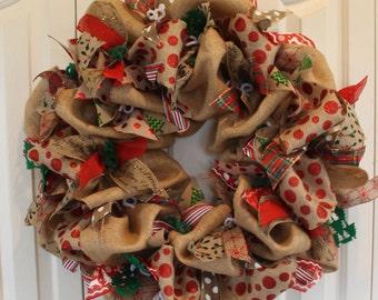 Large burlap Christmas Holiday wreath. Christmas winter Wreath.  Christmas Decor.  Rustic Holiday burlap wreath.  Christmas