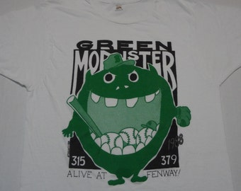Green Monster Alive at Fenway! T-Shirt Vintage 1980s L Boston Red Sox