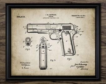 Browning Pistol Patent Print - 1911 Pistol Design - Weapon - Firearm - Hand Gun - Single Print #975 - INSTANT DOWNLOAD