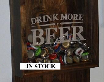 Drink more BEER/Bottle Cap Holder/Bottle Opener/Beer Decor/Bar Decor/Christmas Gift/Male Gift/Engraved/Fast Shipping