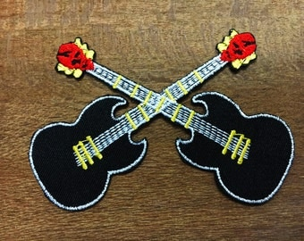 New Guitar Embroidered Applique Iron on Patch