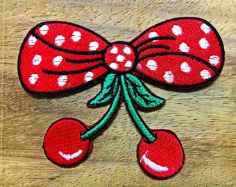 New Bow Red with Cherry cherries fruit applique iron-on patch