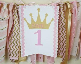 Princess Highchair Banner, Pink and Gold Princess Highchair 1st Birthday Banner, Tiara Highchair banner, 1st Birthday Girl, Cake Smash Prop