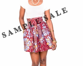 The Laura Mini- African Print 100% Holland Wax Cotton Mini Skirt