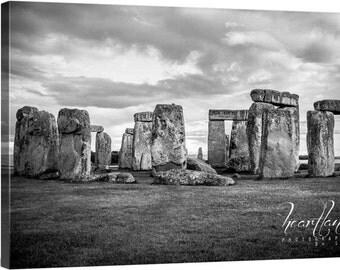 Large Canvas Photo, Big Wall Art, Black and White, Stonehenge Pictures, Dramatic Image, England Landscape, Extra Large Decor, Original Art