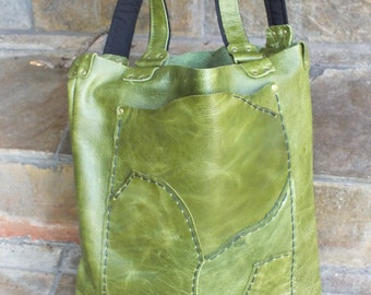 Green Leather Artist Tote, Handmade with upcycled pocket lining