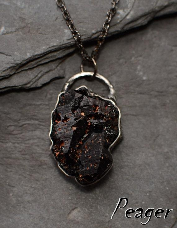 black tourmaline pendantrustic pendantooak by
