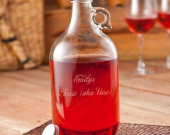 Personalized growlers wine jug monogrammed customized monogram engraved custom barware beer to go containers bottles glass RR11730