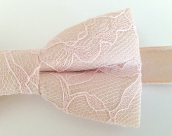 Champagne Blush Bow Tie, Champagne bow tie with Blush Lace Overlay, Blush and Champagne Bow Tie