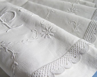 Antique French Linen Metis Sheet Monogram PV Florals Embroidery & Handmade Lace