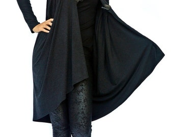 Women Long Cardigan / Asymmetric Tunic / Extra Large Tunic / Wrap Wool Cardigan / Extravagant Asymmetrical Blazer / Wool Top TC12