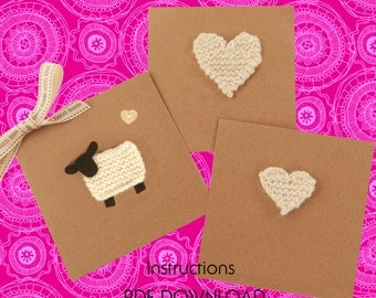 With love - knitted cards - PDF Instructions download