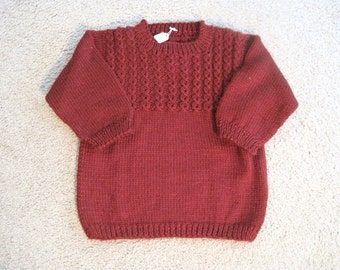 Knit Baby Child Sweater, Pullover Size 3, Red Knitted Sweater for Girl or Boy