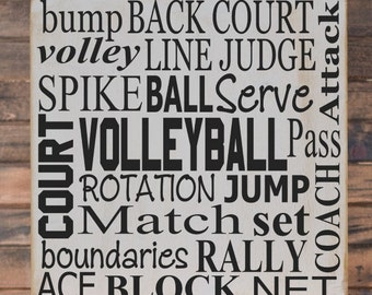 volleyball collage vinyl wooden subway art sign 12 x 12 children wall art - Volleyball Bedroom Decor