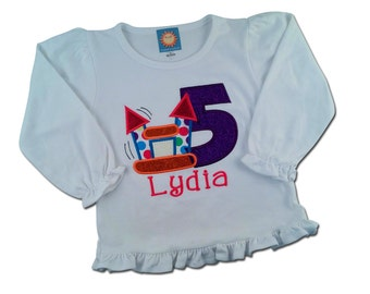 Girl Bounce House Birthday Shirt, Number and Embroidered Name