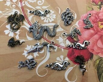 14 Pcs New Dragon Snake Wyrm Worm Charms Pendant Lizard Drake Jewelry Arts Crafts Silver Gold Brass Bronze Fire