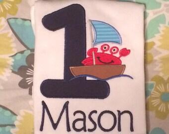 Crab Boat First Birthday Shirt