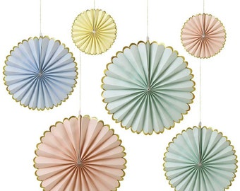 Meri Meri Pastel Pinwheels (Set of 6), Party Pinwheels in Mint - Peach - Yellow - Blue with Gold Foil Scallop, Paper Fans Backdrop