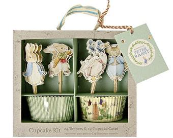 Peter Rabbit Cupcake Kit, Meri Meri Beatrix Potter Cupcake Liners and Cake Picks, Baby Shower Cupcakes, Storybook Cake Decorations