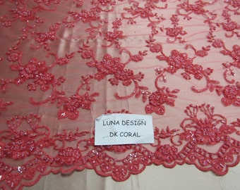 Elegant dk. Coral French design embroider and beaded on a mesh lace. Wedding/Bridal/Prom/Nightgown fabric.