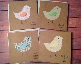 Greeting cards, set of 4 bird cards, mini cards, variety pack, cute cards, handmade cards